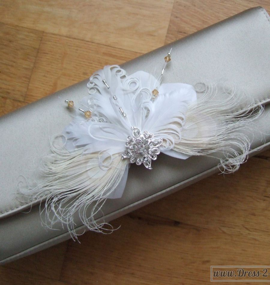 "White Cream Gold Silver Bridal Curled Nagoire Feathers and Crystals ""Lena"" Bag Clip BCP1508"